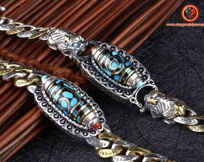 Bracelet agate sacrée tibétaine, DZI tournant, argent 925, cuivre, Pixiu, turquoise d'Arizona, agate dite nan hong (rouge du sud) du Yunnan