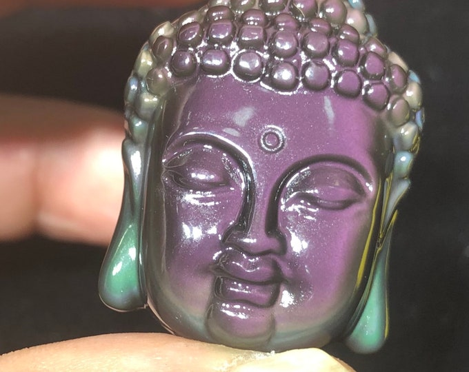 Buddha's head pendant in obsidian celestial eye, quality A