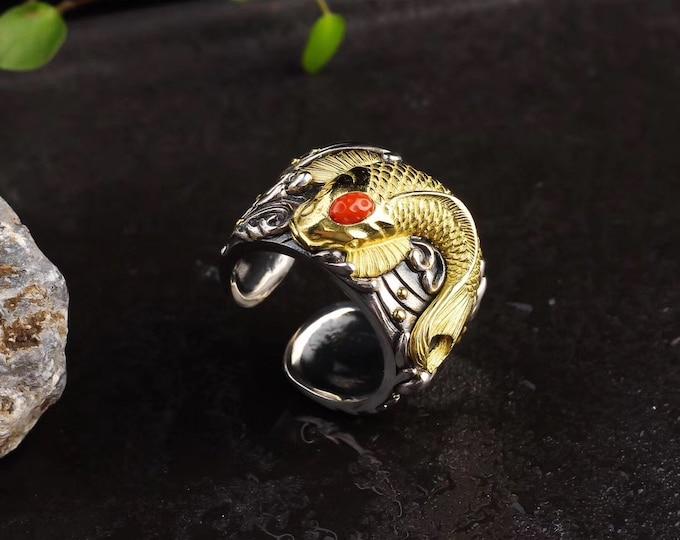"Koi carp ring. Silver 925, copper. Yunnan Agate known as ""nan hong"""