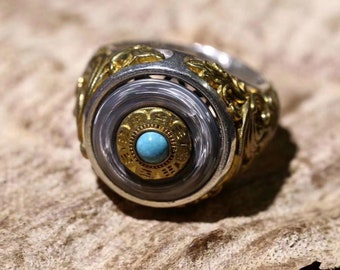 Buddhist ring wheel of the Dharma. Silver 925 rotating wheel, turquoise copper or nan hong