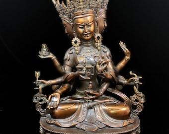 Bronze Buddhist statue. Tibetan Buddha statue. deity Ushnishavijaya. Tibetan statuette, high quality bronze. 34cm high.