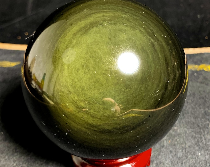sphere in obsidian eye celeste called Mentogochol quality A. 0.982 kg 90mm in diameter, delivered with support