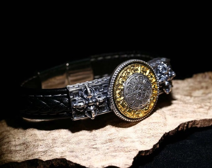 protection amulet, talisman feng shui bracelet. 8 trigrams (Bagua). 925 sterling silver, bronze and braided leather