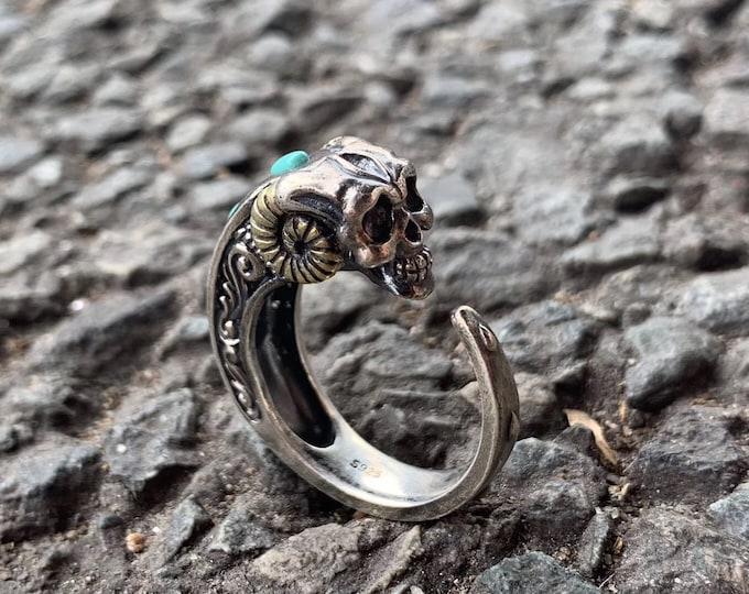 skull ring, Silver 925, copper, Arizona Turquoise.