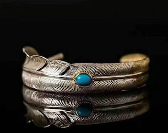 Eagle Feather bracelet, Arizona turquoise copper inlaid Silver 925