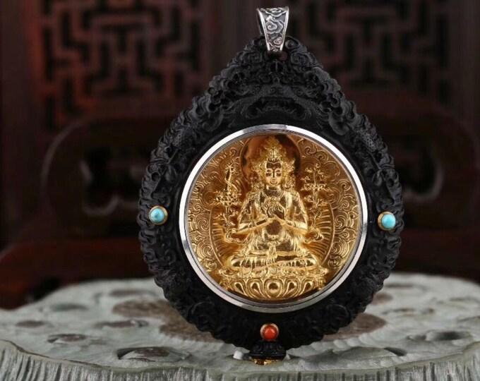 Reliquaire de protection bouddhiste Manjushri.Bois d'ébéne,argent plaquéor,turquoised'Arizona,agate dite nan hong(rouge du sud)du Yunnan