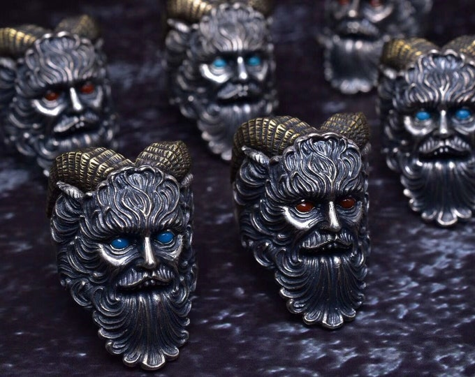 """demon ring, 925 silver, copper, Yunnan agate called """"nan hong"""" or turquoise """"castle dome"""" from Arizona."""