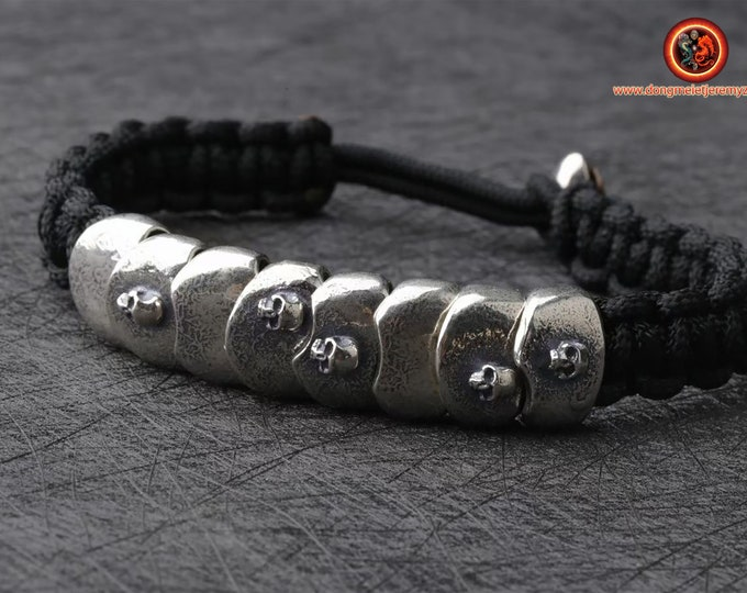 Bracelet cranes, skull. silver 925 punched, Braided with rope for ultra resistant parachute, adjustable sliding clar