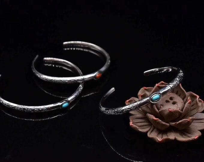 """Feng Shui bracelet, cloud motif called """"ruyi Xiangyun"""", Silver 925, Yunnan known as NaN Hong or Arizona Turquoise."""