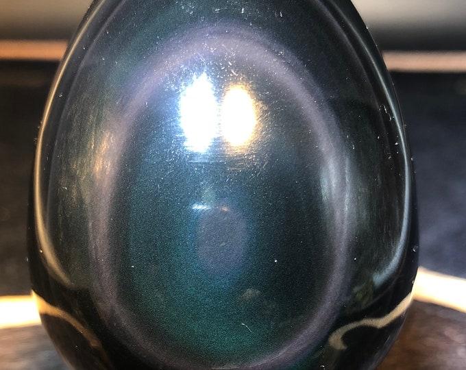 obsidian yoni egg celeste eye. 67/47 mm 0.155kg