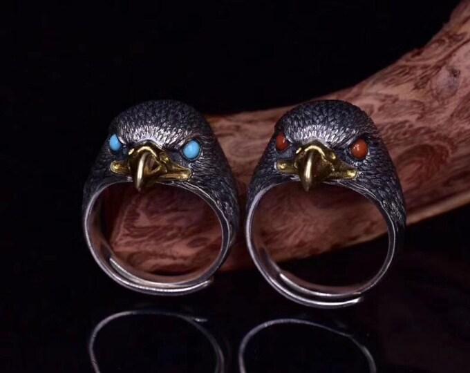 "Eagle head ring Silver 925, copper. Arizona turquoise or Yunnan ""Nan Hong"" agate."