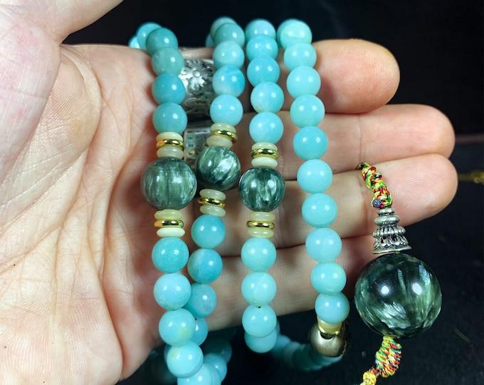 Mala. Buddhist rosary. Mala tibetain.108 amazonite beads, against beads and seraphinite finish. Meditation, yoga, mantra.