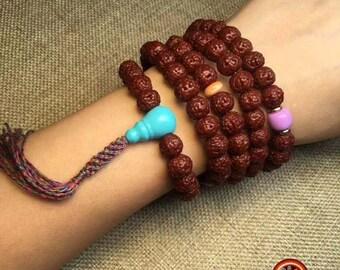 Mala, Buddhist rosary. 108 rudashka seeds, sugilite, agate called nan hong, lapis lazuli, silver 925