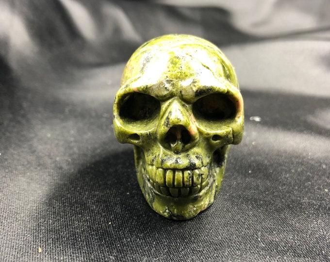 Crystal skull. Skull carved by unakite hand. 5cm in length.