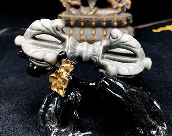 Vajra, dorje, objet rituel, bouddhisme ésotérique,tantrique, bouddhisme tibétain, bouddhisme japonais. obsidienne argentée. Pièce artisanale