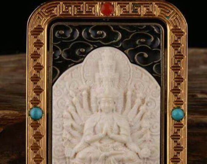reliquary Tibetan Buddhist protection Chenrezi , mammoth ivory, solid silver 925, turquoise bronze, agate called nan hong.