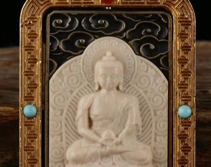 reliquary Tibetan Buddhist protection Buddha Vairocana , mammoth ivory, solid silver 925, turquoise bronze, agate called nan hong.