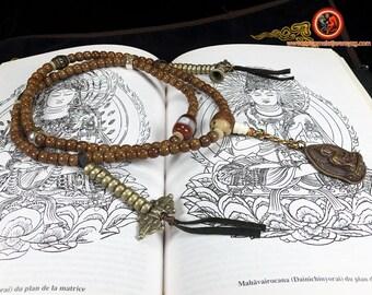 mala, chapelet bouddhiste tibetain. 108 perles de graines  figuier sacré (pipal/ bodhi).DZI authentique. Bouddha Shakyamuni en cuivre.