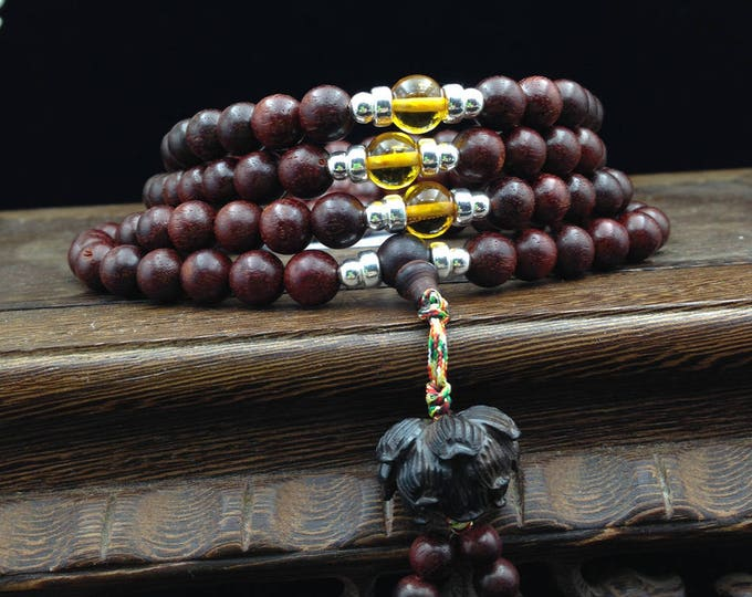 mala sandalwood red, amber, silver 999/1000th
