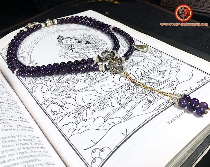 mala, rosary, Buddhist meditation. 108 amethyst beads, silver 925, compassion mantra Om Mani Padme Hum. dragon.