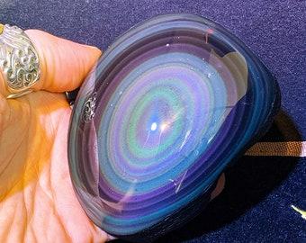 free form in obsidian celeste eye. Semi raw. 95/75/35 mm 0.270 kg.