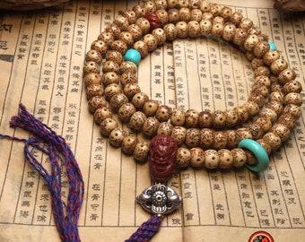 Mala, chapelet bouddhiste, 108 perles de graines de figuier sacré (appelées également pipal ou bodhi) turquoise, agate nan hong, dragon