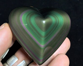 Exceptional heart in obsidian eye celeste rare quality collection. 0.124kg 59/68/30mm. Originally from Mexico