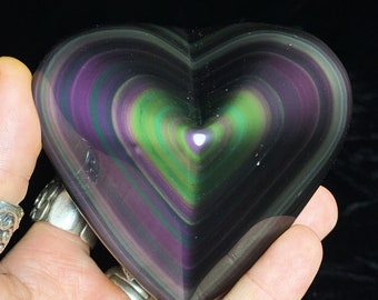 Exceptional heart in obsidian eye celeste rare quality collection. 0.453kg 89/98/50mm. Originally from Mexico