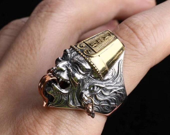 Bague de protection taoïste Bai  Wu Cheng argent 925 et cuivre.