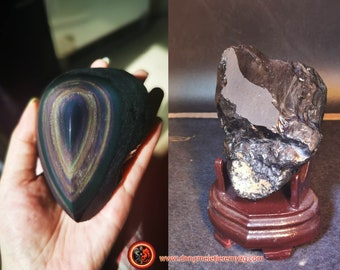 free form in obsidian celeste eye. Semi raw. A polished face, a rough face 101/73/61 mm 0.500 kg.