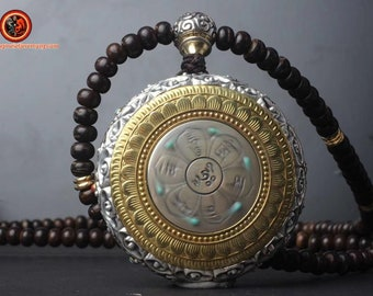 Mala chapelet bouddhiste 108 perles de coco Amulette de protection bouddhiste ivoire de mammouth argent 925 turquoise nan hong