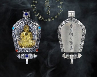 amulet of protection Tibetan Amitabha in 925 sterling silver, gold plated 18 k, Carnelian, turquoise, lapis lazuli