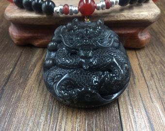 dragon king necklace (Ao) in obsidian ice, obsidian celeste eye, cornaline, silver 925.