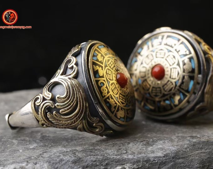 Protective ring feng shui, Taoist. Trigram Bagua, yi king. Silver 925 turquoise copper revolving ring agate nan hong adjustable size