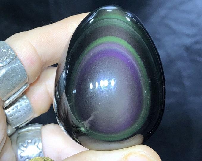 obsidian yoni egg celeste eye. 6.7 cm long /14 cm circumference 0.144kg