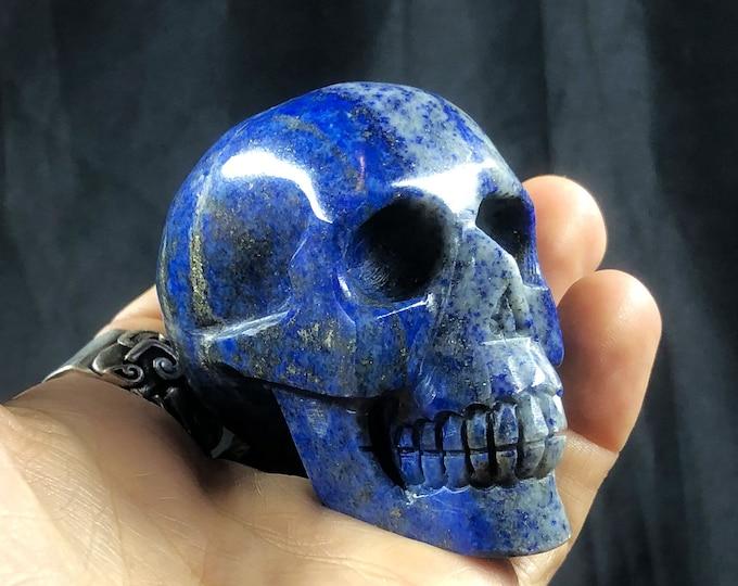 Lapis lazuli crystal skull entirely handmade single piece 6/6/3.5cm 0.252kg