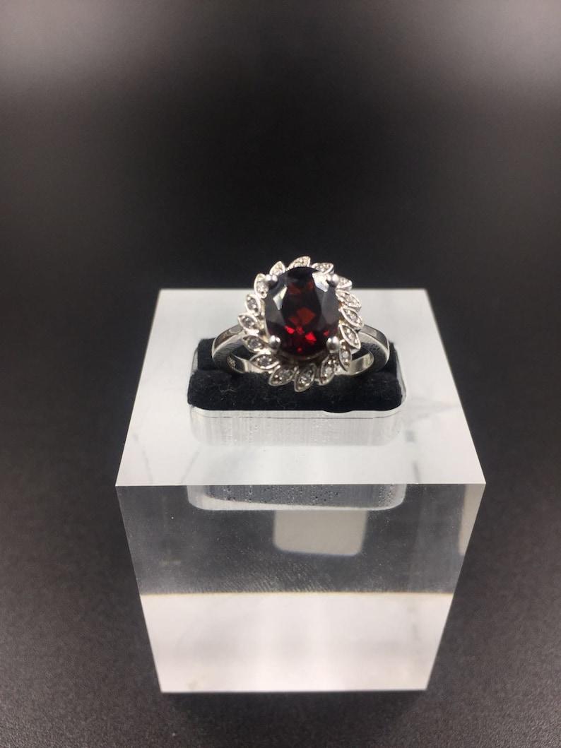 quality pyrope Garnet ring gemstone set in Silver 925 decorated brilliant.