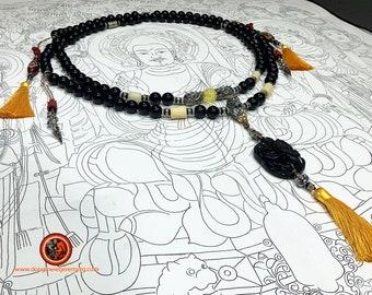 Great dragon mala, prayer rosary, Buddhist meditation 108 obsidian beads celeste eye. Amber from Burma. DZI, cinabra silver