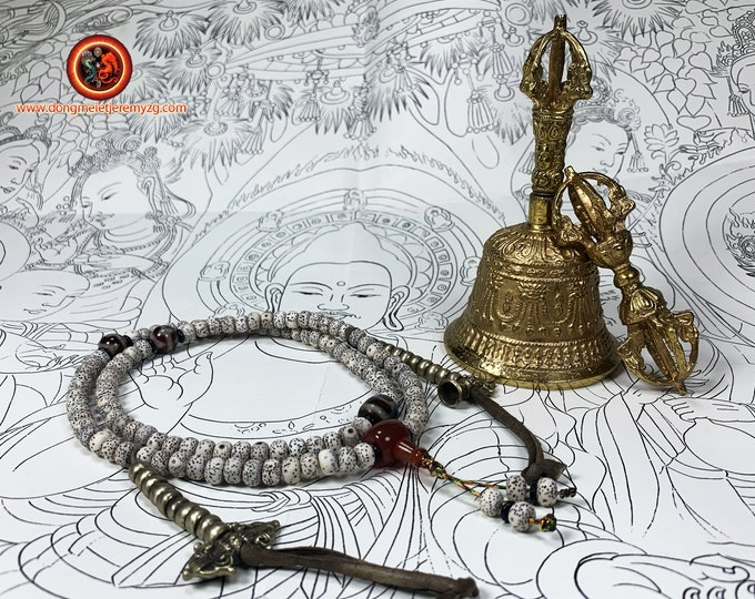 Dorje, drilbou and malas, vajra bell and rosary instruments of worship, Buddhist ritual vajrayana tibetain. Esoteric Buddhism,
