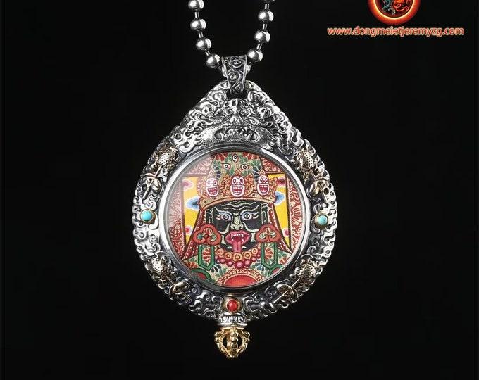 Amulette hindoue. Pendentif de protection indienne. Kali, Ganesh. Argent 925, cuivre, turquoise. Roue de la vie tournante au verso.