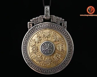 Buddhist pendant, Tibetan protection amulet. Silver 925, copper. 8 auspicious symbols of turquoise Buddhism or agate nan hong
