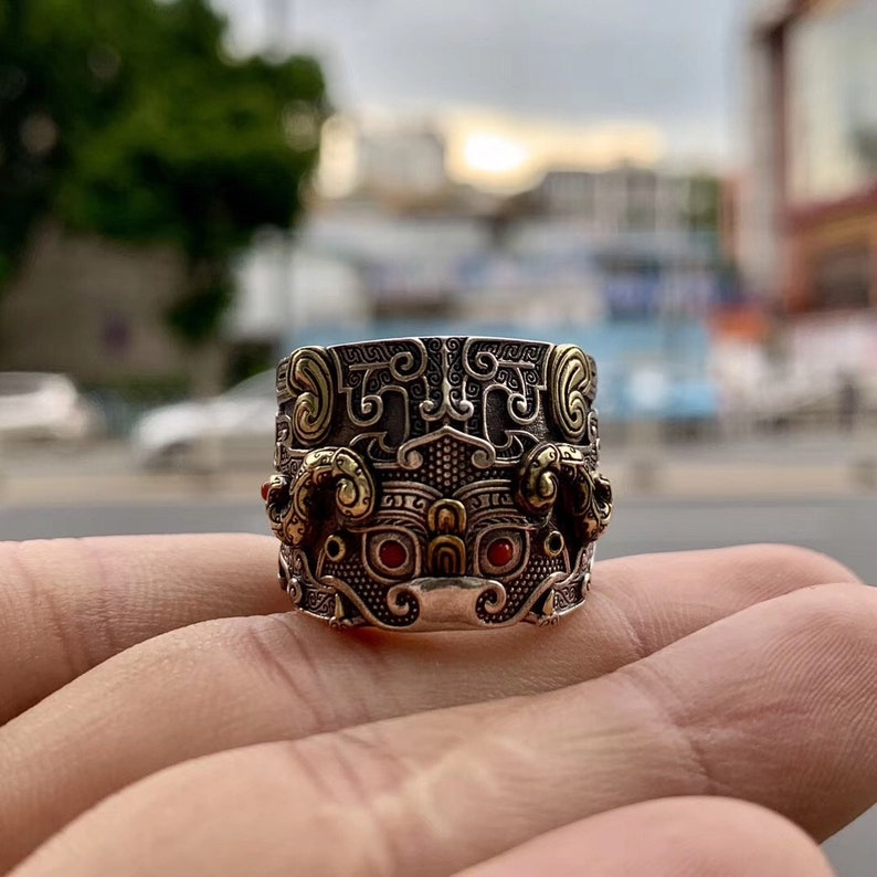 copper 925 silver protective ring feng shui dragon pattern taotie Arizona turquoise or agate called nan hong.