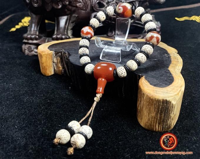 Bracelet de protection tibétain. graines de figuier sacré (pipal) DZI, agates sacrées tibétaines. Tara et dents de tigre. fermoir coulissant