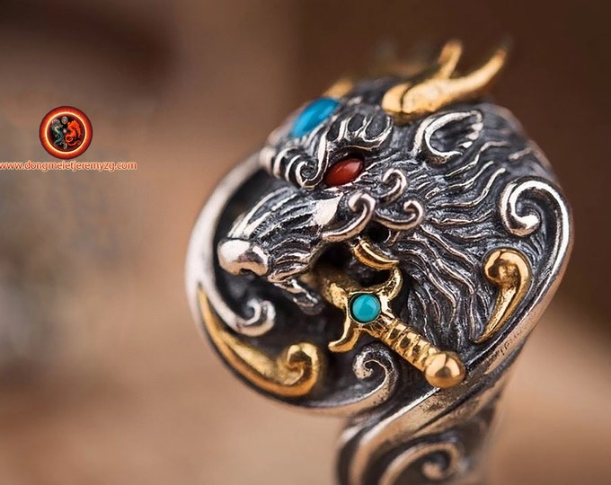 feng shui ring, dragon. Silver 925 punched, copper, Turquoises or natural nan hong agates. ring adjustable to all finger sizes.