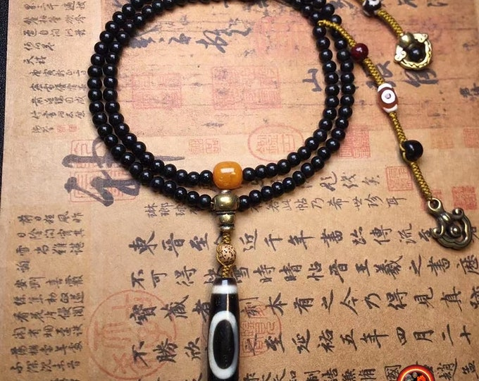 "mala Buddhist rosary 108 black sandalwood beads Tibetan sacred agateLand and sky ""balance and harmony"", Dzi tiger teeth ""strength"""
