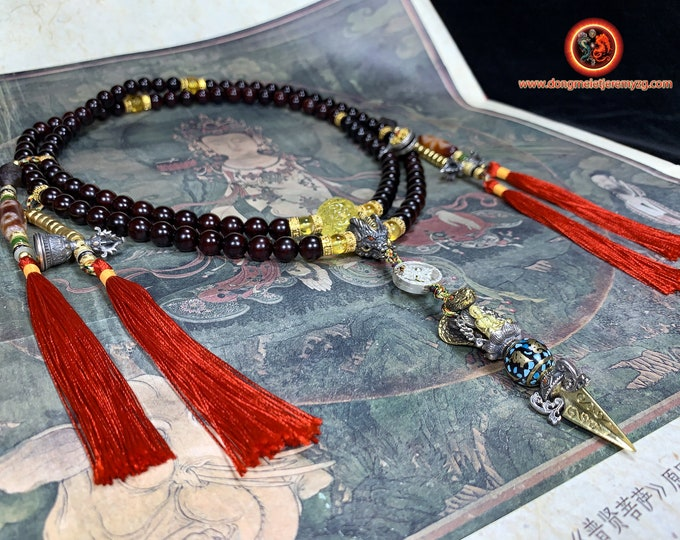 Mala, Tibetan Buddhist rosary, phurba, 108 red sandalwood pearls of collection quality, Burmese amber, silver 925, copper, gold