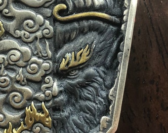 feng shui pendant. Sun Wu Kong, the king monkey silver 999 and copper. piece entirely done by hand