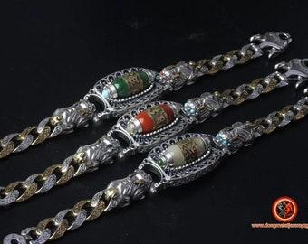 Bracelet, bouddhisme tibétain, inspiration DZI (agate sacrée tibétaine) mantra  de la compassion, argent 925, cuivre, jade ou nan hong.