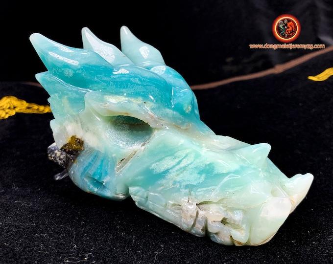 dragon. Dragon crane. Dragon tete, Central Asian amazonite. Dragon carved by hand. Unique piece. Sun: 115/ 60/ 56mm