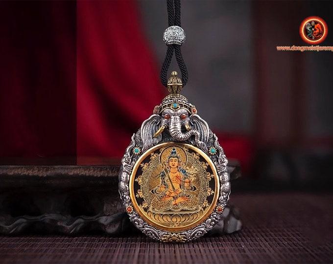 Amulet protection Tibetan Buddhism Buddha.Akashagarbha surmounted by Ganesh silver 925. hand-painted thangka Mantra turning to the back